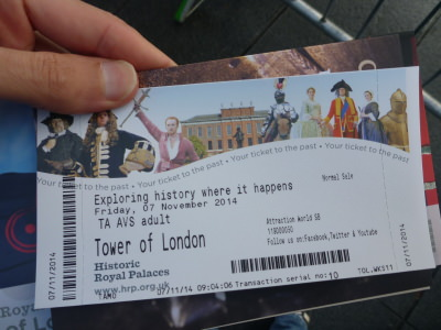 Ticket for the Tower of London