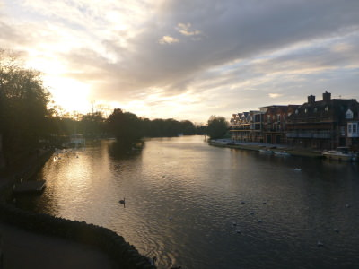 Sunset at the River Thames by the Sir Christopher Wren Hotel and Spa.