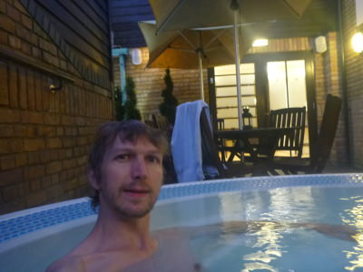 Relaxing in the Jacuzzi at the Sir Christopher Wren Hotel and Spa.