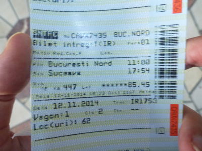 Train ticket from Bucharest North to Suceava.