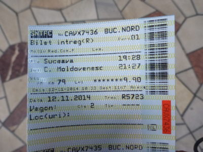 Train ticket from Suceava to Campulung Moldovenesc.