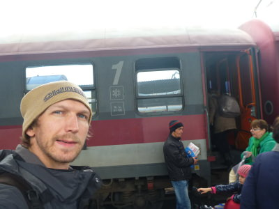 Boarding the train in Bucharest.