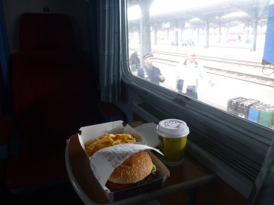 Leaving Bucharest by train with a McDonalds meal (unusual for me!)