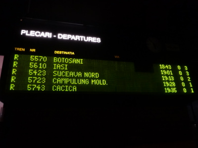 My train listed on the screen to Campulung Moldovenesc.