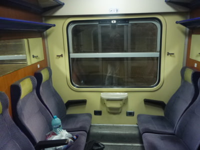 My compartment on the train to Campulung Moldovenesc.