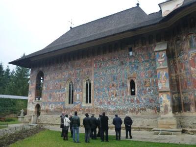 Other tourists gather to admire Moldovita.