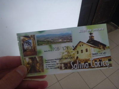 Ticket for the salt mine in Cacica - 10 Lei.