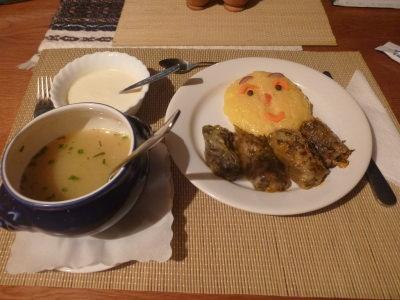 Main course - Sarmale and Mamaliga.