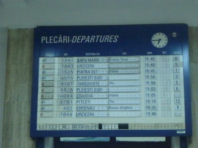 Night time departures from Bucharest including the 19.35 to Chisinau.