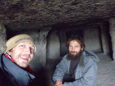 With Vasil inside the cave monastery