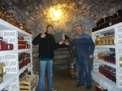 Wine with Anatolie in his cellar.