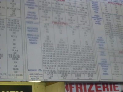 The bus timetable - sorry it's blurred - was a horrendous day of torrential rain and I left in a hurry from Chisinau.