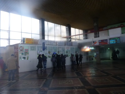 Inside the bus station.