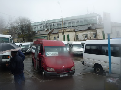 The red bus to Tiraspol at stand 13 out the back of the station.