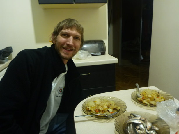Enjoying my meal in Tiraspol.