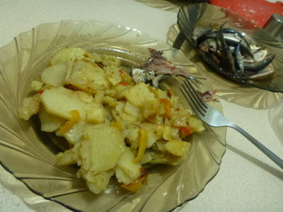 Potatoes, vegetables and fish in my homestay in Tiraspol, Transnistria.