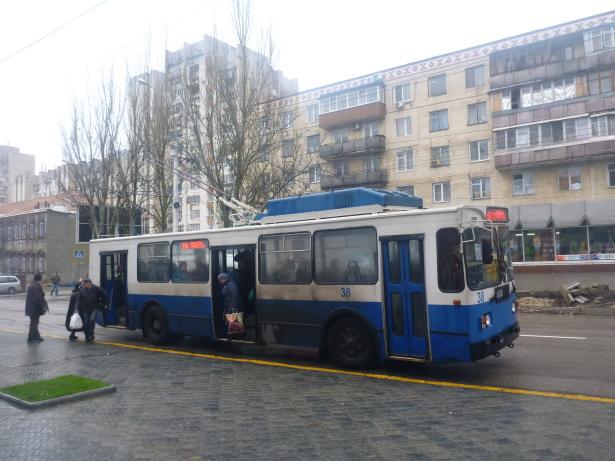 Bus in downtown Tiraspol.
