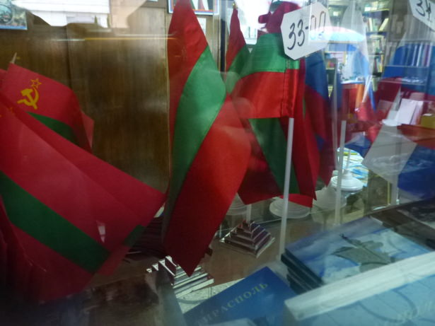 Transnistrian Flags for sale in downtown Tiraspol.