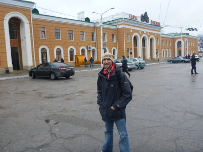 Backpacking in Transnistria - at the train station.