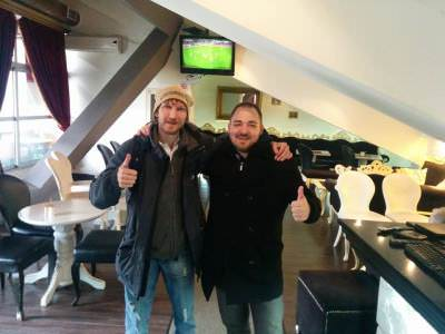 With Paul from Austria in the cafe by the football stadium.