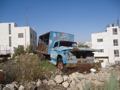 A burnt out truck in Hebron