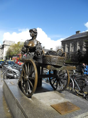 Molly Malone Statue (which has moved recently) in Dublin's Fair City.