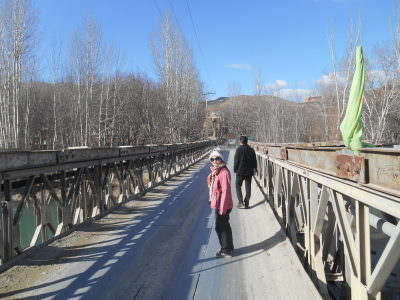 Panny crossing the bridge to Yaseh Chah.