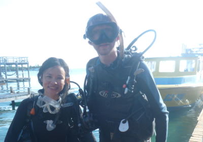 Panny and I on the first day of open water dives in Utila Honduras