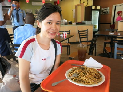 Panny with her Guyanese/Chinese style meal