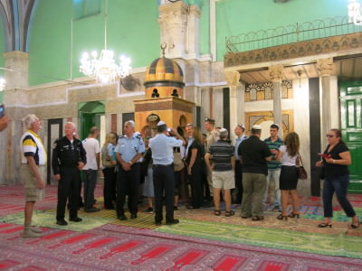 Disrespectful Jews walk all over the Mosque on the Palestinian side.