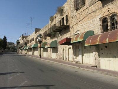The street where the sniper shot an Israeli soldier dead just before our visit.