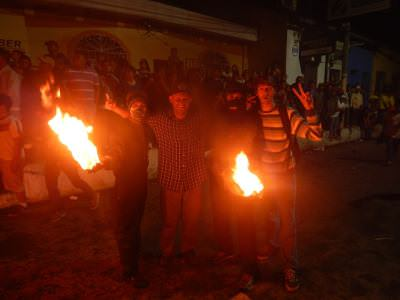 The crazy Bolas de Fuego Fireball Fight in Nejapa El Salvador