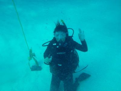 Panny underwater.