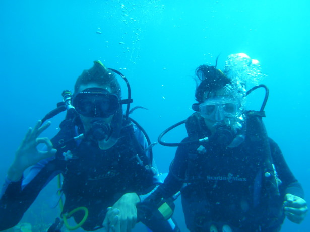 Panny Yu and I deep sea diving off the coast of Honduras.