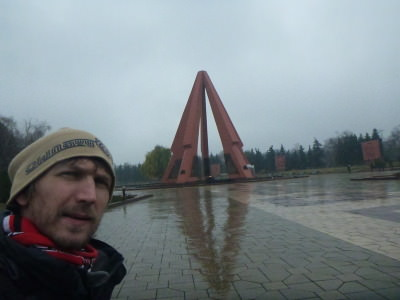 At the eternal flame memorial in Chisinau, Moldova.