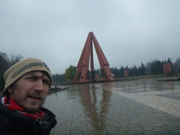 At the eternal flame memorial in Chisinau, Moldova.