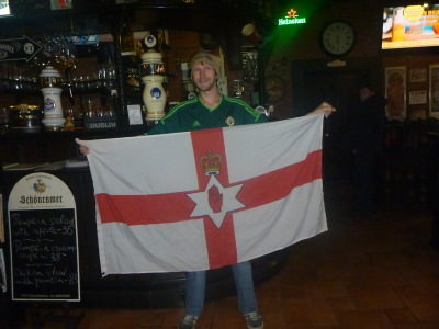 Flying my Northern Irish flag in the Dublin Pub, Chisinau.