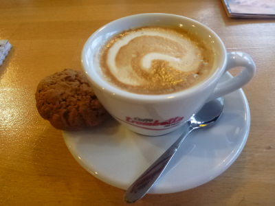 Cappuccino and a cookie.
