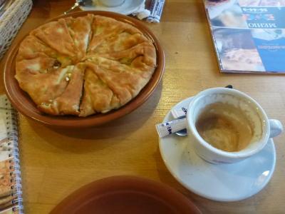 Placinta and Cappuccino.