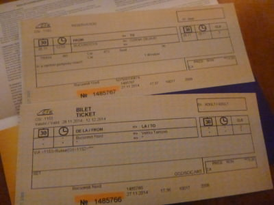 My tickets from Romania to Bulgaria.
