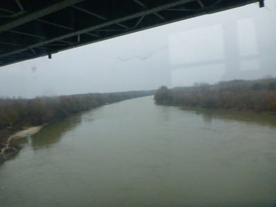 Crossing the bridge from Romania into Bulgaria.