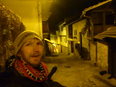 Backpacking all alone through Veliko Tarnovo at night to the Family Hotel Comfort.