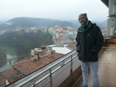Admiring the view over Veliko Tarnovo from Hotel Comfort.