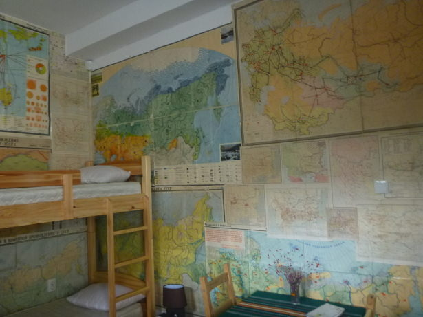 Maps on the walls.