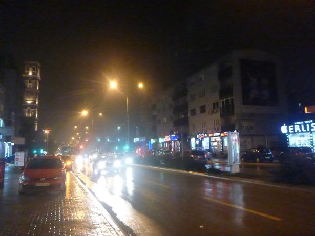 Night time arrival into Pristina, Kosovo's capital.