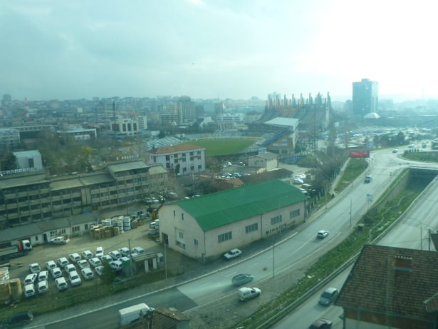 The view from the Moving Restaurant overlooking Pristina, Kosovo.