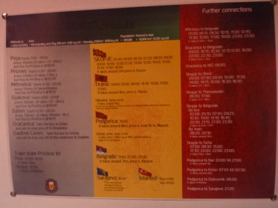 Bus information at Buffalo Backpackers.