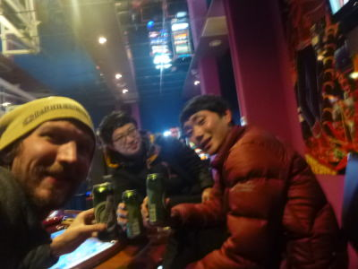 Hanging out in a Casino in Podgorica with the two South Korean lads - Ho and Justin.