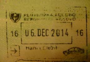Passport Arrival Stamp for Kosovo.