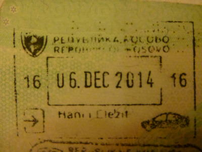 Passport Arrival Stamp for Kosovo.